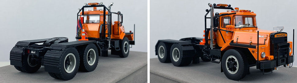 Closeup pictures 9-10 of the Mack DM 800 Tandem Axle Tractor scale model in orange over black.