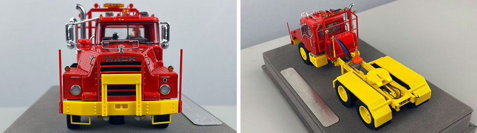 Closeup pictures 1-2 of the Mack DM 800 Tandem Axle Tractor scale model in red over yellow