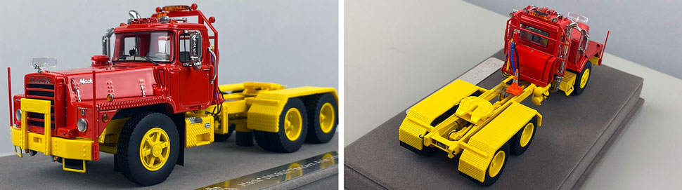 Closeup pictures 3-4 of the Mack DM 800 Tandem Axle Tractor scale model in red over yellow