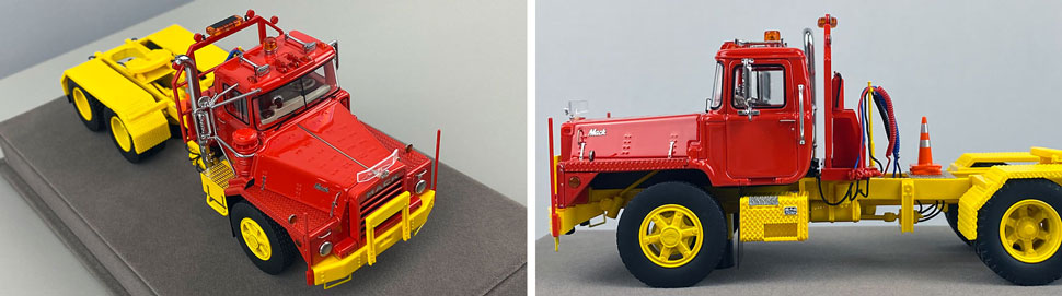 Closeup pictures 5-6 of the Mack DM 800 Tandem Axle Tractor scale model in red over yellow