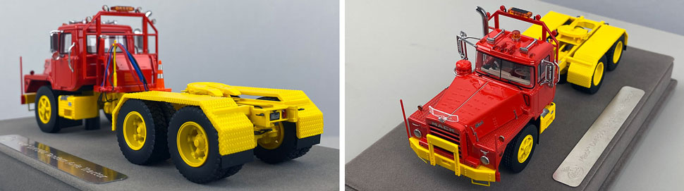 Closeup pictures 7-8 of the Mack DM 800 Tandem Axle Tractor scale model in red over yellow