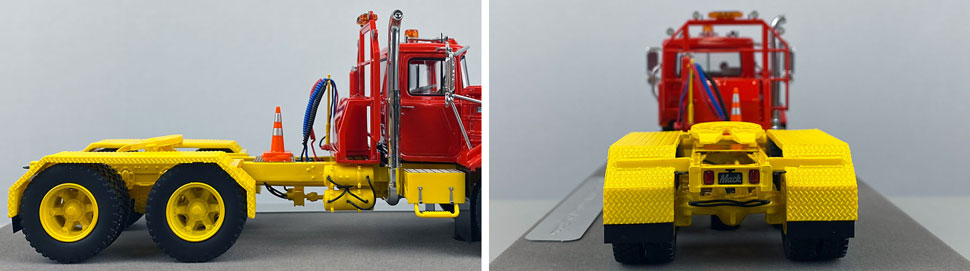 Closeup pictures 9-10 of the Mack DM 800 Tandem Axle Tractor scale model in red over yellow