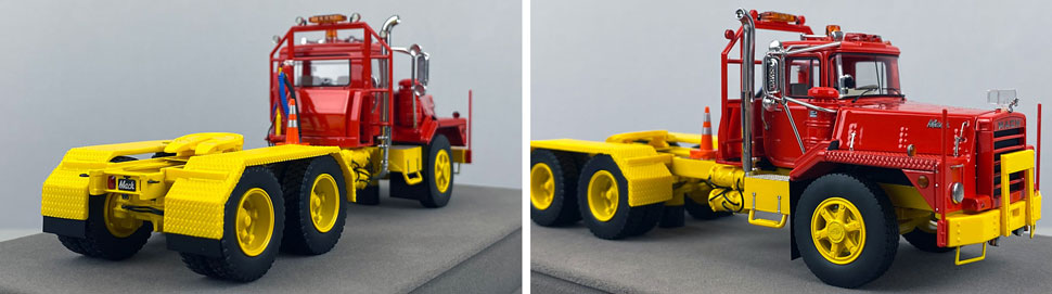 Closeup pictures 11-12 of the Mack DM 800 Tandem Axle Tractor scale model in red over yellow