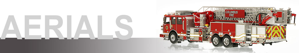 1:50 Arial scale model fire trucks including Columbus Sutphen SPH 100