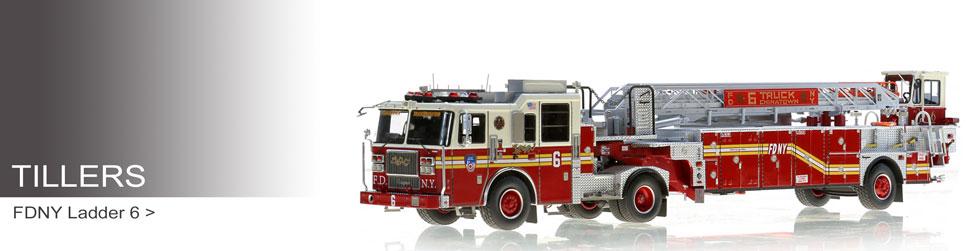 Shop museum grade tiller scale models including FDNY Ladder 6