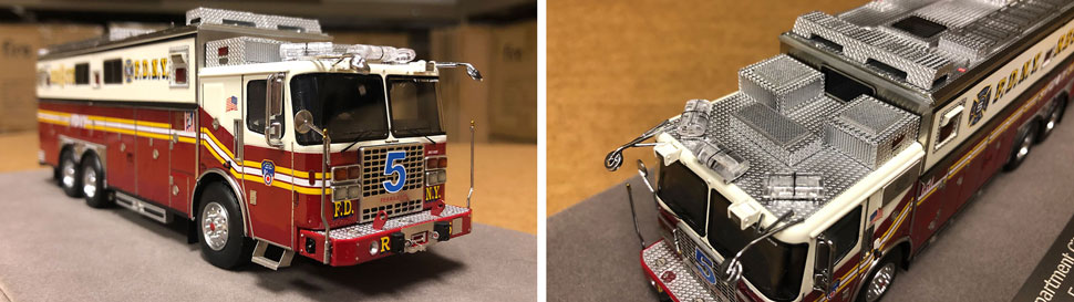 Close up images of FDNY Rescue 5 scale model
