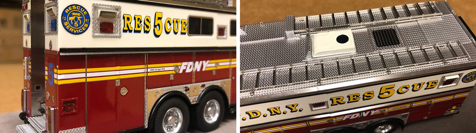 Close up images of FDNY Rescue 5 scale model in Staten Island