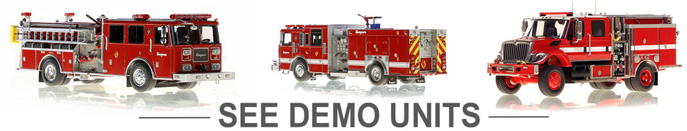 Shop scale models of blank demo unit fire trucks
