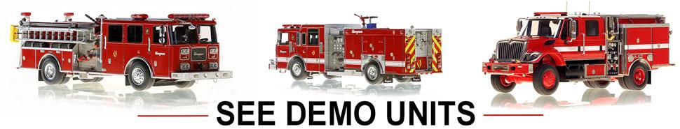 Shop scale models of blank demo unit fire trucks