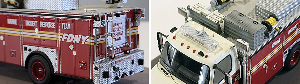 Closeup images 5-6 of FDNY Marine Incident Response Team scale model