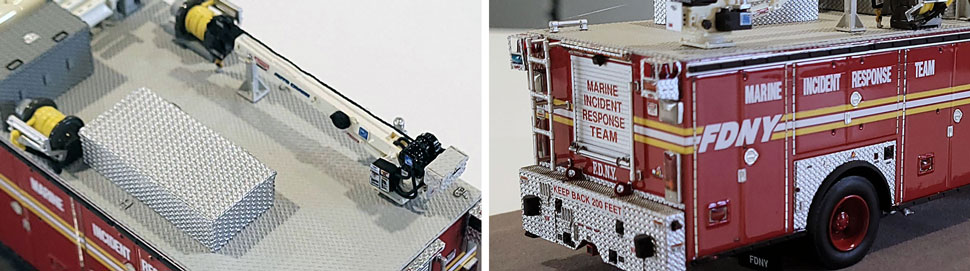 Closeup images 3-4 of FDNY Marine Incident Response Team scale model