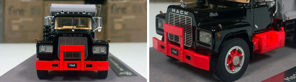 Closeup pictures 1-2 of the Mack R dump truck scale model in black over red with grey dump.