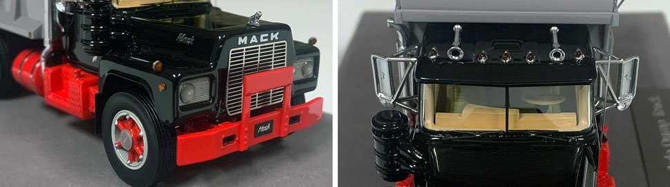 Closeup pictures 5-6 of the Mack R dump truck scale model in black over red with grey dump.