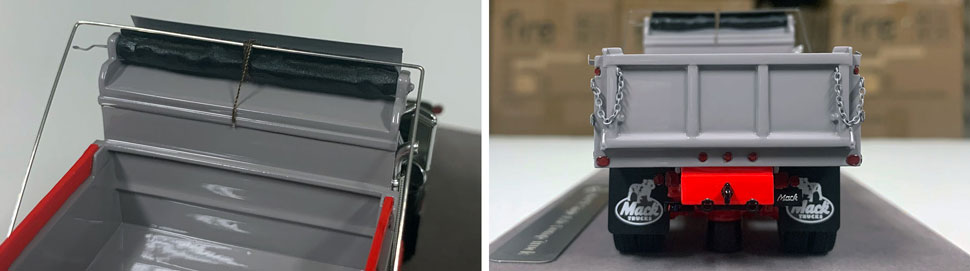Closeup pictures 9-10 of the Mack R dump truck scale model in black over red with grey dump.