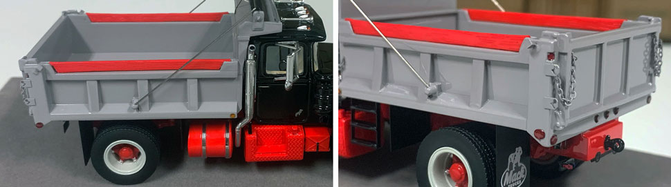 Closeup pictures 7-8 of the Mack R dump truck scale model in black over red with grey dump.