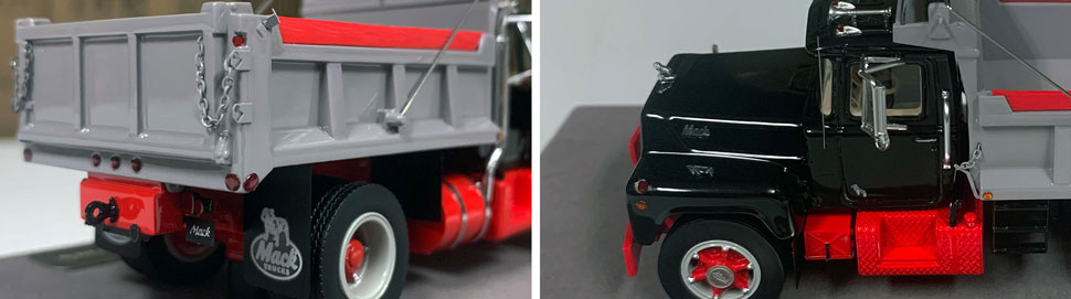 Closeup pictures 3-4 of the Mack R dump truck scale model in black over red with grey dump.