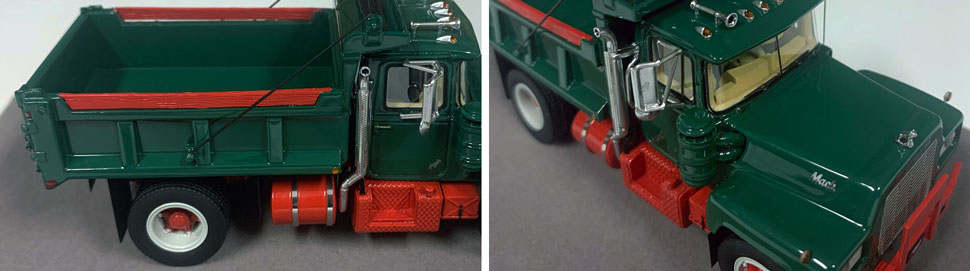 Closeup pictures 1-2 of the Mack R dump truck scale model in green over red.