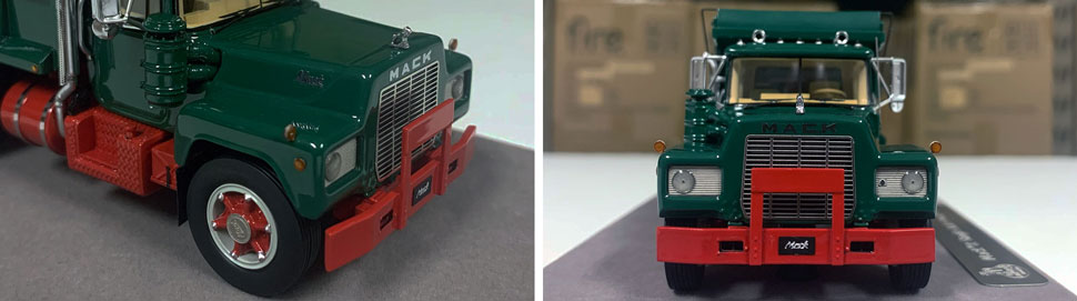 Closeup pictures 3-4 of the Mack R dump truck scale model in green over red.