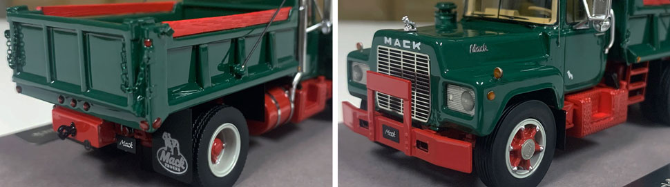 Closeup pictures 7-8 of the Mack R dump truck scale model in green over red.