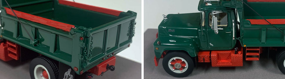 Closeup pictures 11-12 of the Mack R dump truck scale model in green over red.