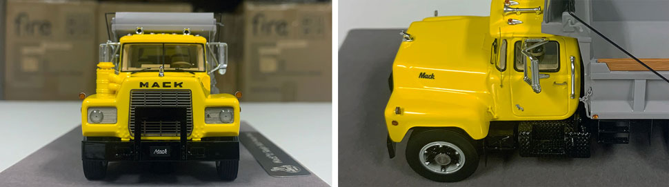 Closeup pictures 1-2 of the Mack R dump truck scale model in yellow over black with grey dump.