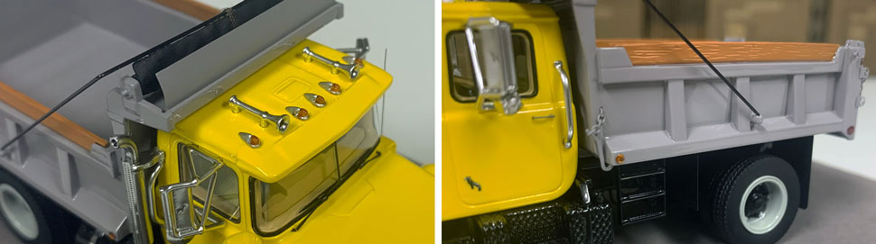 Closeup pictures 3-4 of the Mack R dump truck scale model in yellow over black with grey dump.