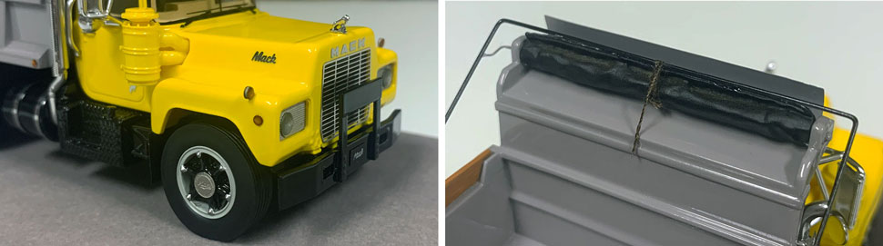 Closeup pictures 5-6 of the Mack R dump truck scale model in yellow over black with grey dump.
