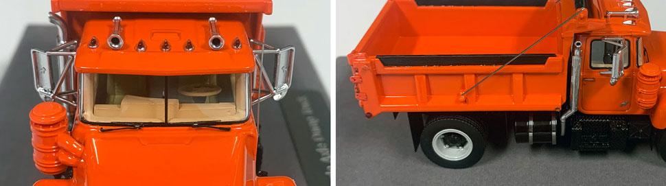 Closeup pictures 5-6 of the Mack R dump truck scale model in orange over black.