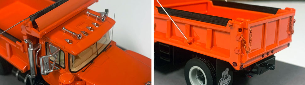Closeup pictures 7-8 of the Mack R dump truck scale model in orange over black.