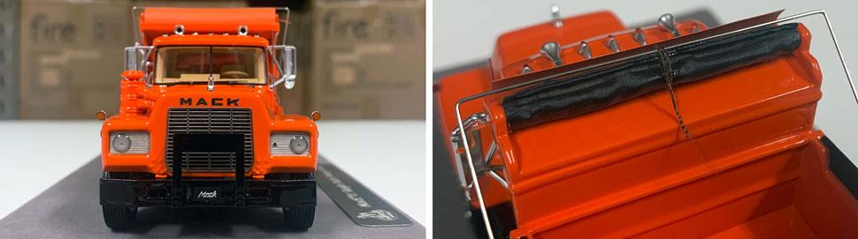 Closeup pictures 3-4 of the Mack R dump truck scale model in orange over black.