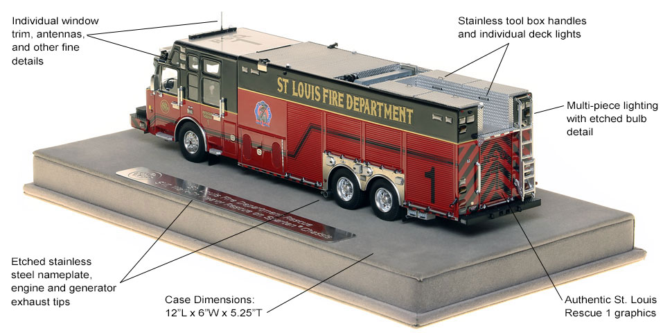 Features and specs of St. Louis Rescue 1 scale model