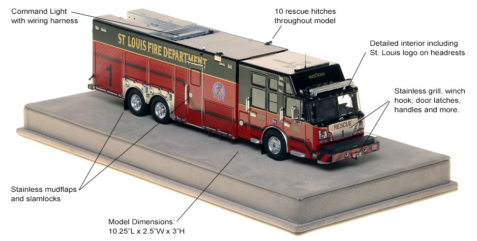 Specs and features of St. Louis Rescue 1 scale model