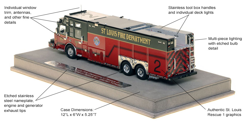 Features and specs of St. Louis Rescue 2 scale model