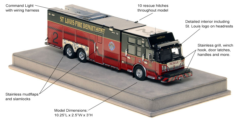 Specs and features of St. Louis Rescue 2 scale model