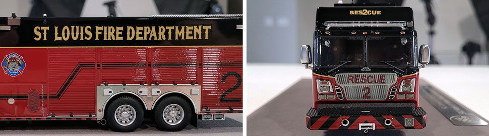 Closeup pics 1-2 of St. Louis Fire Department Rescue 2 scale model