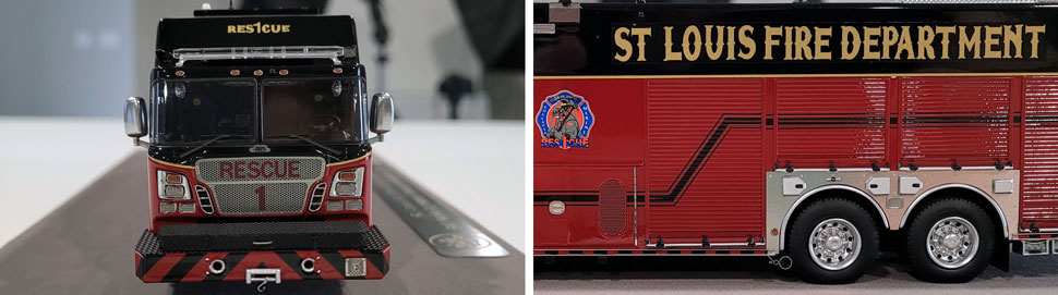 Close up images 1-2 of St. Louis Fire Department Rescue 1 scale model