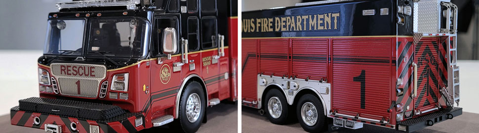 Close up images 3-4 of St. Louis Fire Department Rescue 1 scale model