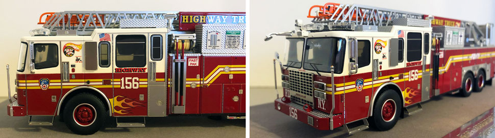 Closeup pictures 5-6 of the FDNY Ladder 156 scale model