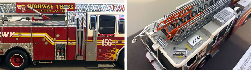 Closeup pictures 1-2 of the FDNY Ladder 156 scale model