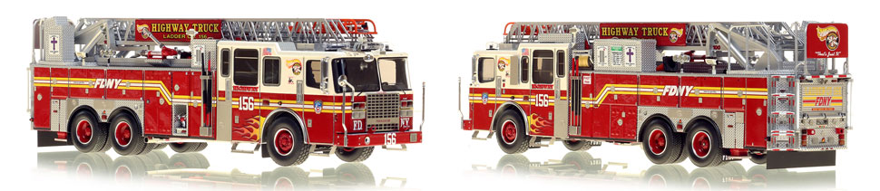 FDNY's Ladder 156 scale model is hand-crafted and intricately detailed.