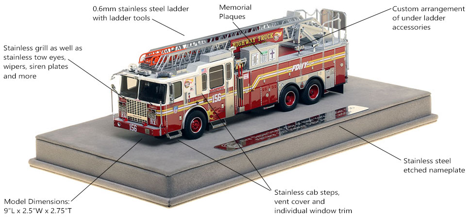 Features and Specs of FDNY Ladder 156 scale model