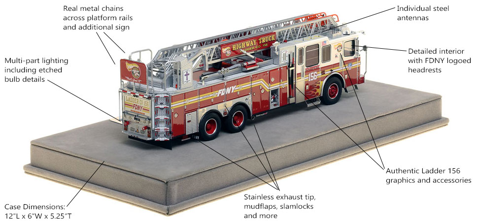 Specs and Features of FDNY Ladder 156 scale model