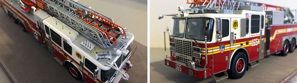 Closeup pictures 1-2 of the FDNY Ladder 165 scale model