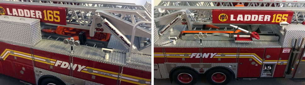 Closeup pictures 7-8 of the FDNY Ladder 165 scale model