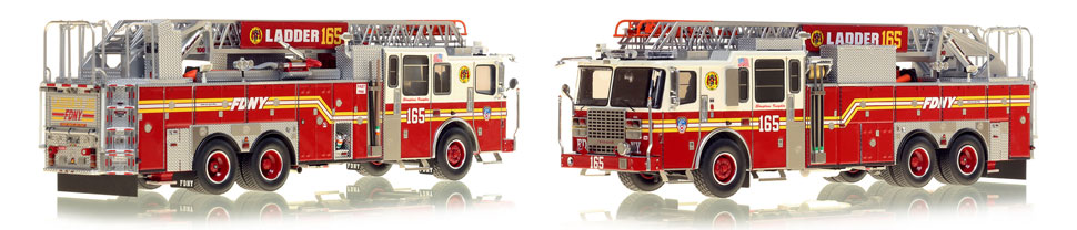 FDNY's Ladder 165 scale model is hand-crafted and intricately detailed.