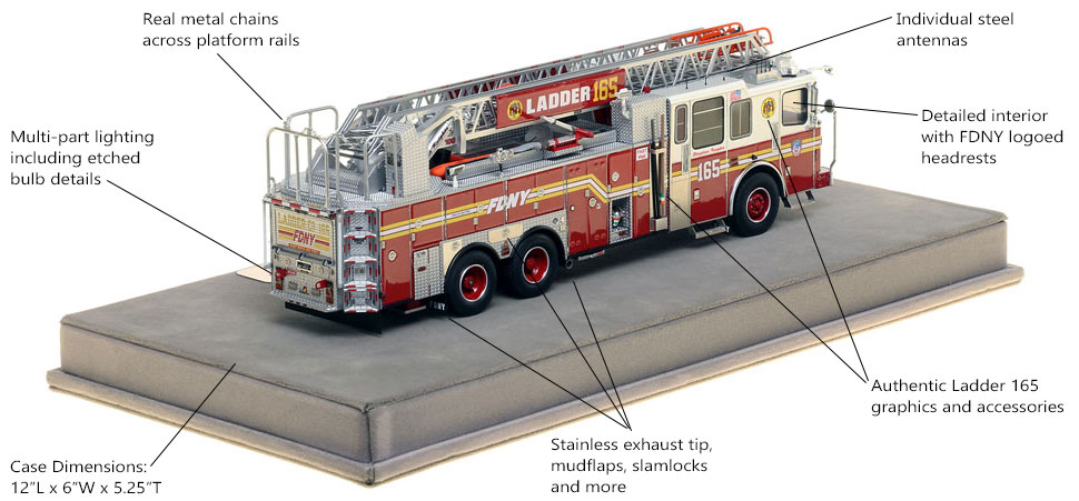 Specs and Features of FDNY Ladder 165 scale model