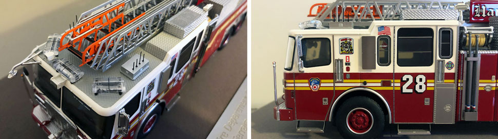 Closeup pictures 3-4 of the FDNY Ladder 28 scale model