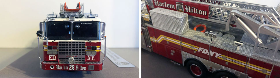 Closeup pictures 5-6 of the FDNY Ladder 28 scale model