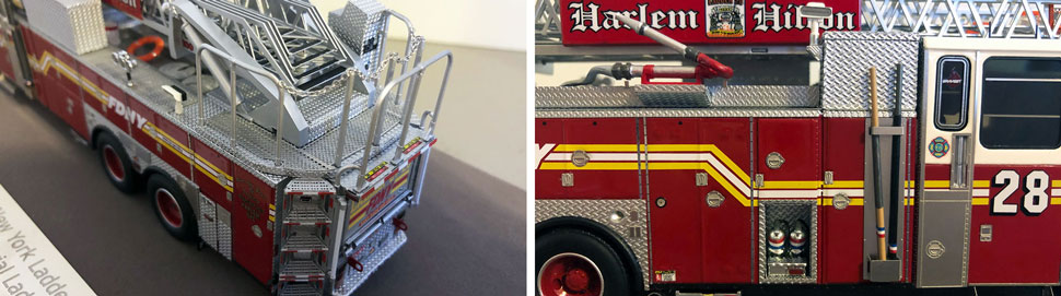 Closeup pictures 7-8 of the FDNY Ladder 28 scale model