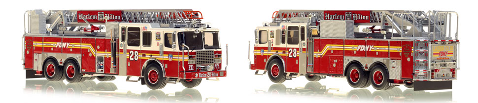 FDNY's Ladder 28 scale model is hand-crafted and intricately detailed.